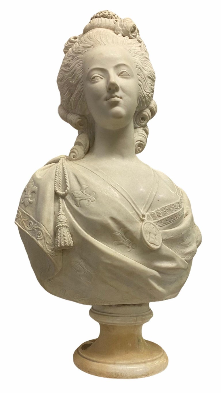 Very finely carved French 19th century Marie Antoinette marble bust. Unsigned.