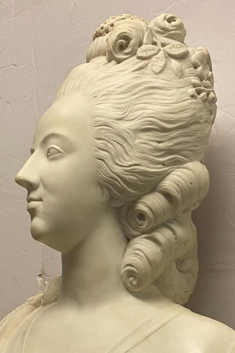 Louis XVI French 19th Century Marie Antoinette Marble Bust For Sale