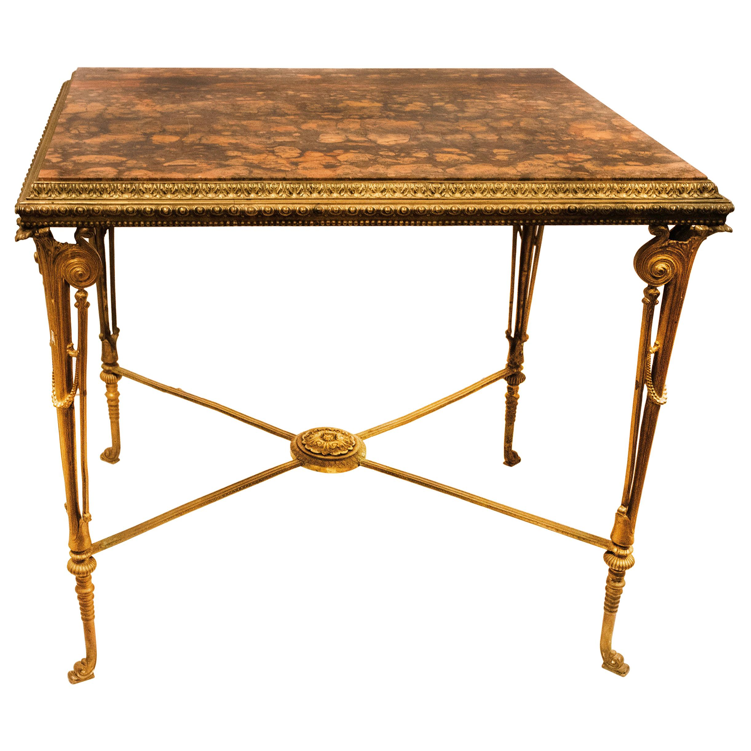 French 19 Century Neoclassical Style Bronze Marble-Top Center Table