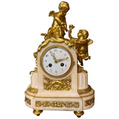 French 19th Century Ormolu White Marble Mantel Clock