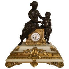 French 19th Century Clock, Gilt Bronze and Patinated Bronze on White Marble Base