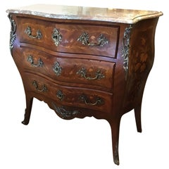 French 19th Century Marquetry Commode/ Chest with Three Drawers, Bronze Mounts