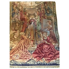 French 19th Century Woven Tapestry Depicting Royalty and a Village Scene