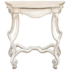 French 1900 Rococo Style Painted Console Table with Scrolling Legs and Stretcher