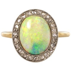 French 1900s 1.57 Carat Opal Diamonds 18 Karat Yellow Gold Cluster Ring