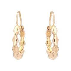 French 1900s 18 Karat Rose Gold Creoles Hoop Earrings