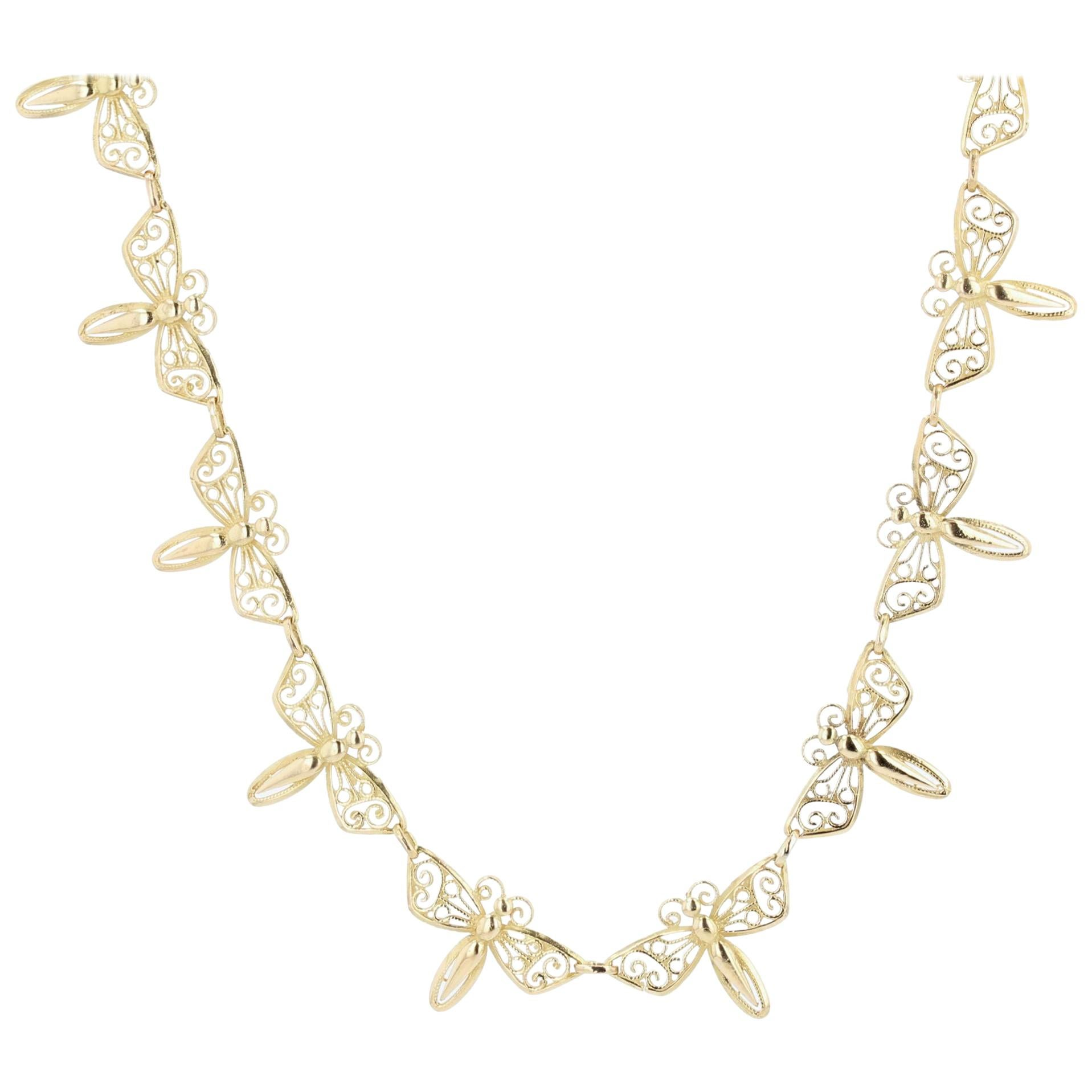 French 1900s 18 Karat Yellow Gold Butterflies Necklace