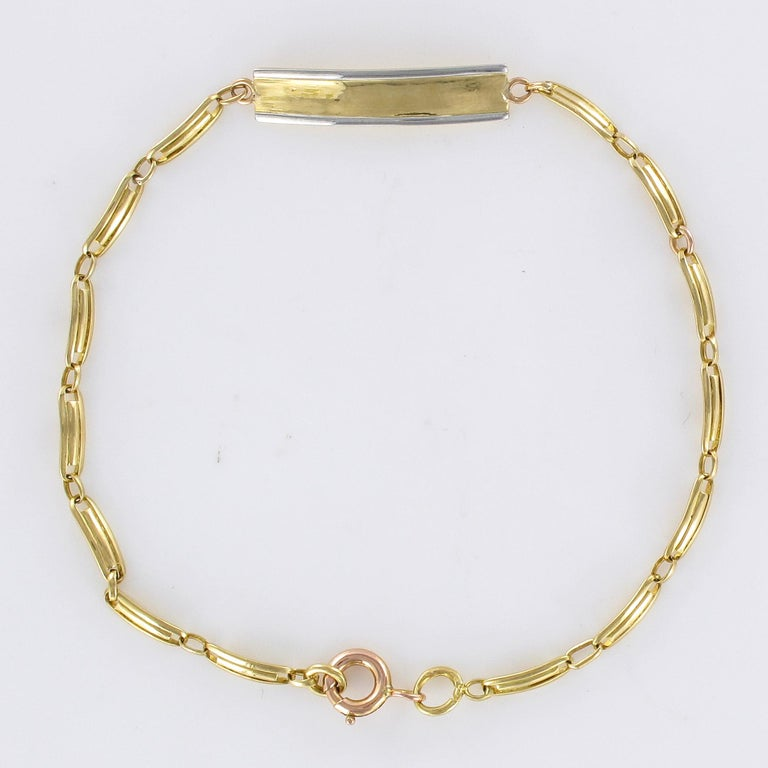 French 1900s 18 Karat Yellow Gold Baby Curb Bracelet For Sale 9