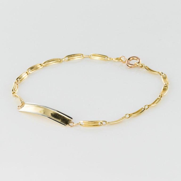 Belle Époque French 1900s 18 Karat Yellow Gold Baby Curb Bracelet For Sale