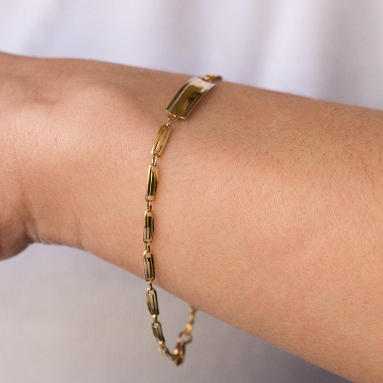 French 1900s 18 Karat Yellow Gold Baby Curb Bracelet In Good Condition For Sale In Poitiers, FR