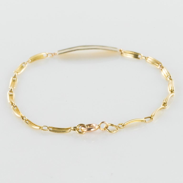French 1900s 18 Karat Yellow Gold Baby Curb Bracelet For Sale 4