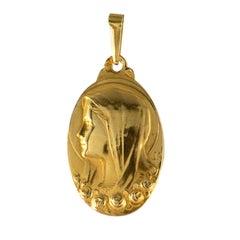 French 1900s 18 Karat Yellow Gold Virgin Roses Medal