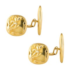 French 1900s 18 Karats Yellow Gold Cufflinks