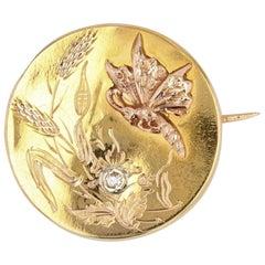 French 1900s Butterfly Diamond 18 Karat Rose Gold Neck Brooch