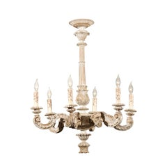 French 1900s Carved and Painted Wood Six-Light Chandelier with Scrolling Arms