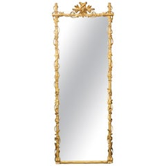 French 1900s Carved Giltwood Tall Mirror with Faux Branches and Floral Décor