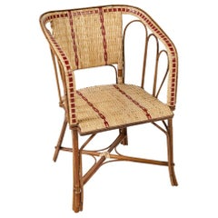 French 1900s Design Bistro Rattan and Wicker Armchair