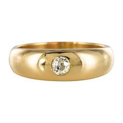 French 1900s Diamond 18 Karat Yellow Gold Bangle Men's Ring