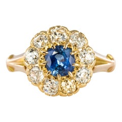 French 1900s Diamonds 1.22 Carat Sapphire Daisy Ring