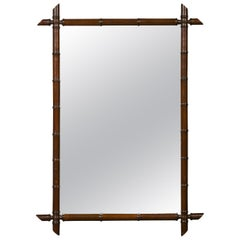 French 1900s Faux Bamboo Turn of the Century Mirror with Dark Brown Patina