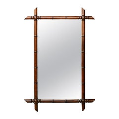 French 1900s Faux Bamboo Turn of the Century Mirror with Protruding Corners