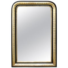 French 1900s Gilt and Ebonized Louis-Philippe Style Mirror with Radiating Motifs