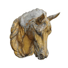 French 1900s Gilt Zinc Horse Head Wall Decoration from the Belle Époque Era