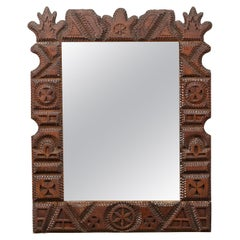 French 1900s Hand Carved Tramp Art Mirror with Geometric Motifs