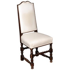 French 1900s Louis XIII Style Wooden Side Chair with Bonnet Top and Turned Base