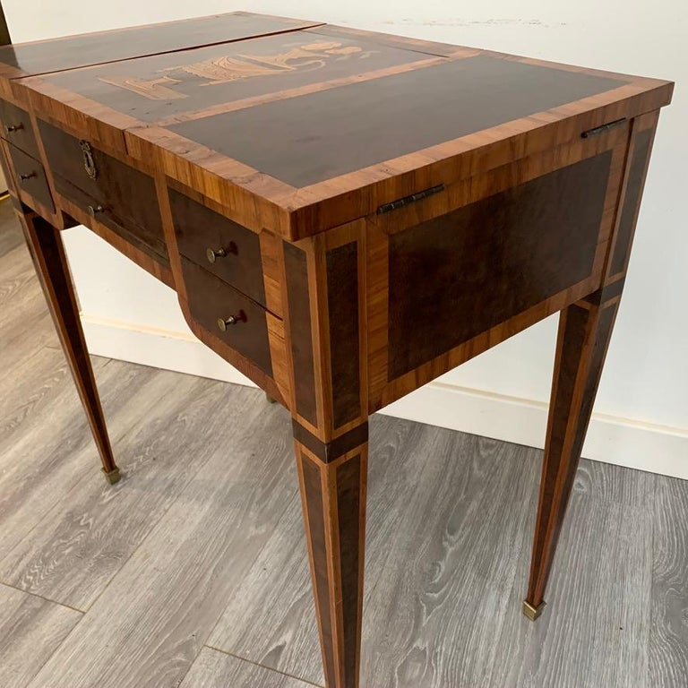 Marquetry French 1900s Mahogany and Tulipwood Vanity Table with Hinged Top Mirror For Sale