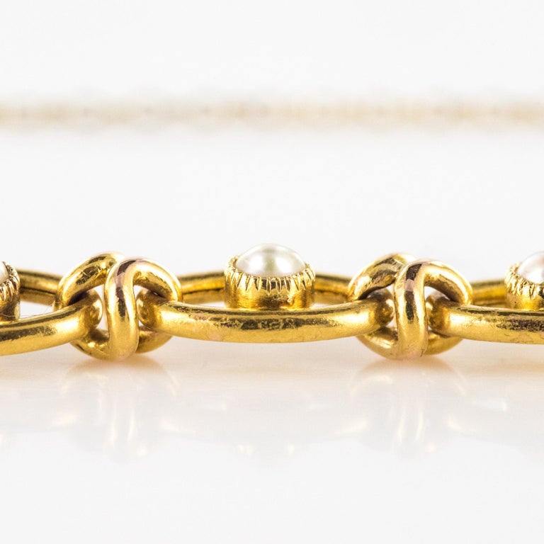 Belle Époque French 1900s Natural Pearl 18 Karat Yellow Gold Bracelet For Sale