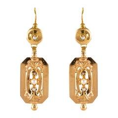 French 1900s Natural Pearls 18 Karat Rose Gold Dangling Earrings