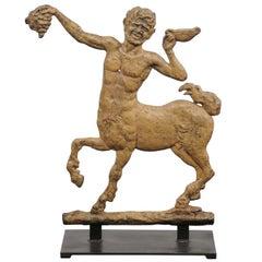 French 1900s Painted Iron Mythological Centaur Sculpture Mounted on Custom Base