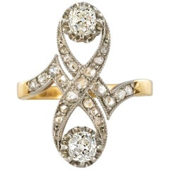 French 1900s Platinum and Gold Diamond Ring