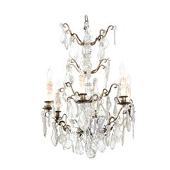 French 1900s Six-Light Crystal Chandelier with Brass Armature and Pendeloques