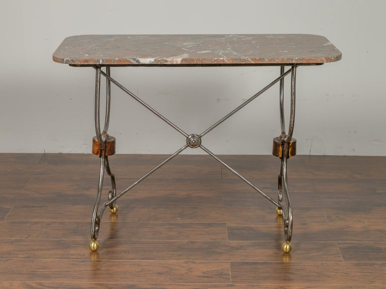 French 1900s Steel and Brass Console Table with Variegated Marble Top In Good Condition For Sale In Atlanta, GA