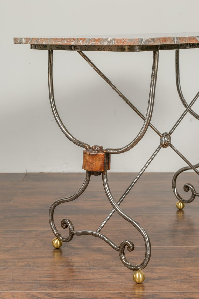 20th Century French 1900s Steel and Brass Console Table with Variegated Marble Top For Sale