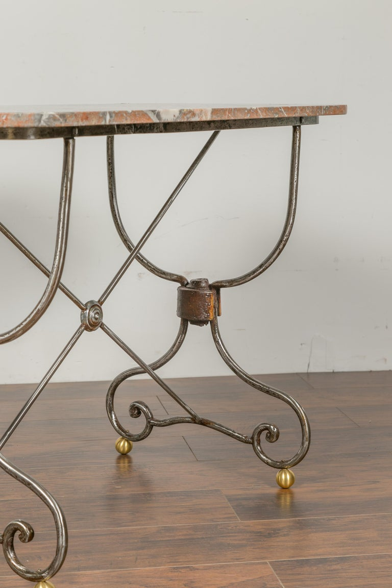 French 1900s Steel and Brass Console Table with Variegated Marble Top For Sale 1