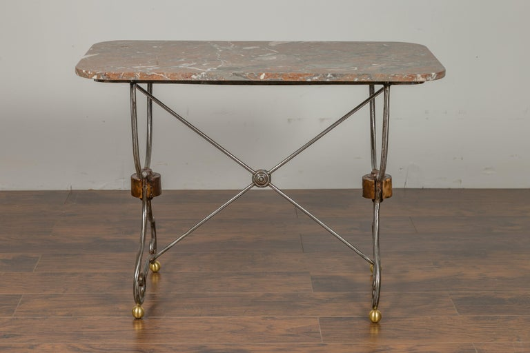 French 1900s Steel and Brass Console Table with Variegated Marble Top For Sale 3