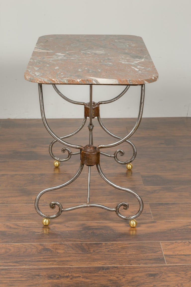 French 1900s Steel and Brass Console Table with Variegated Marble Top For Sale 4