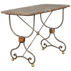 French 1900s Steel and Brass Console Table with Variegated Marble Top