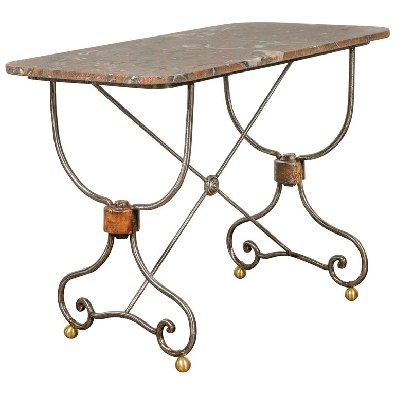 French 1900s Steel and Brass Console Table with Variegated Marble Top For Sale