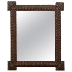 French 1900s Tramp Art Mirror with Protruding Corners and Pyramidal Motifs