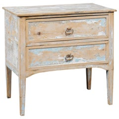 French 1900s Turn of the Century Two-Drawer Commode with Distressed Paint