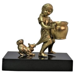 French 1910-20,s Little Girl and the Dog Bronze