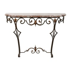 French 1910s Wrought-Iron Console Table with Red Marble Top and Scrolled Base