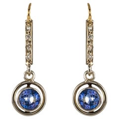 French 1920s Art Deco 1.16 Carat Sapphire Diamonds 18 Karat Yellow Gold Earrings