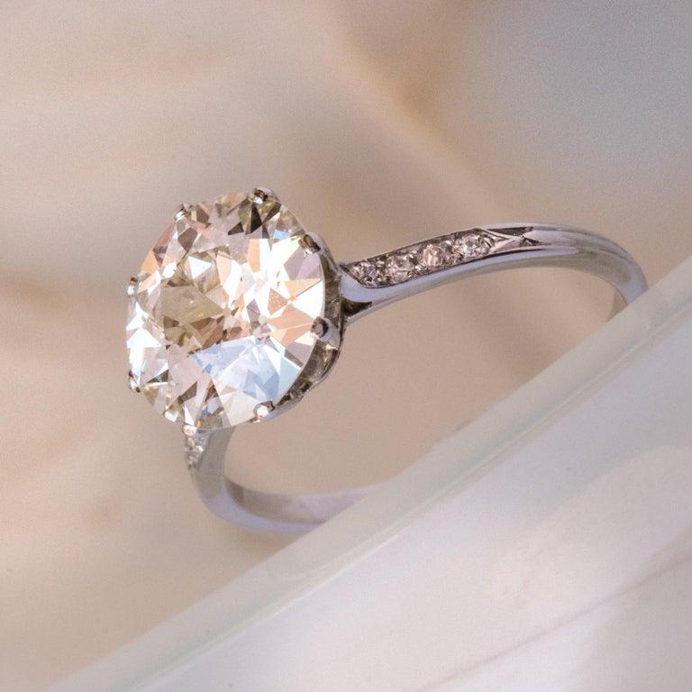 Women's French 1920s 2.45 Carat Brilliant Cut Diamond Solitaire Platinum Ring For Sale
