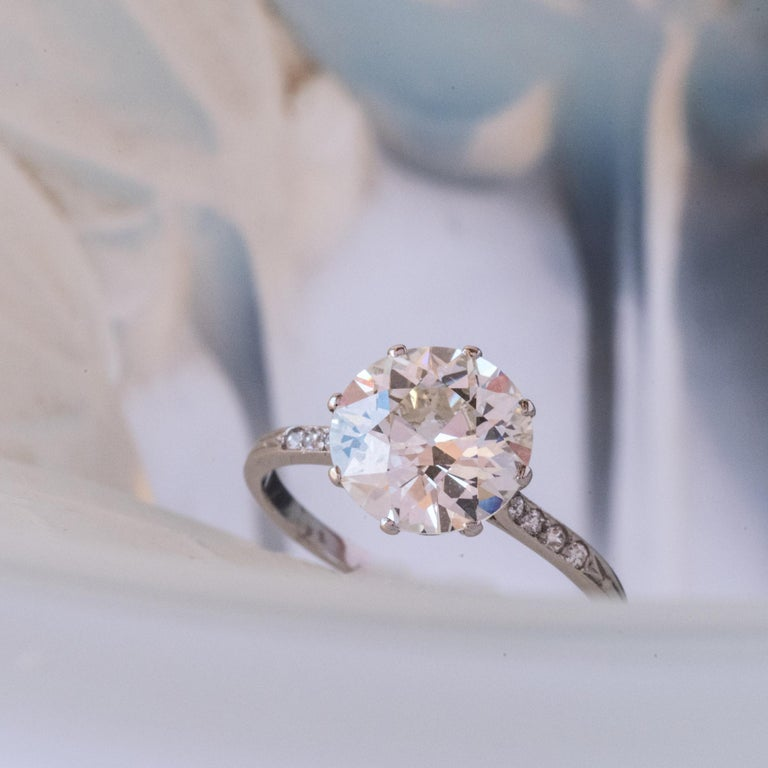 French 1920s 2.45 Carat Brilliant Cut Diamond Solitaire Platinum Ring For Sale 1