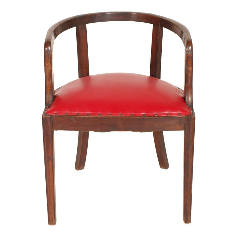French 1920s Art Deco Armchair in Brown Walnut, Red Skin Color Jules Leleu Style In Good Condition For Sale In Vigonza, Padua